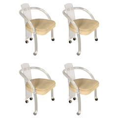 Set of Four Charles Hollis Jones Style Lucite Dining Chairs