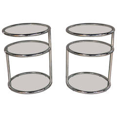 Milo Baughman Style Chrome and Glass Swivel Top Tables