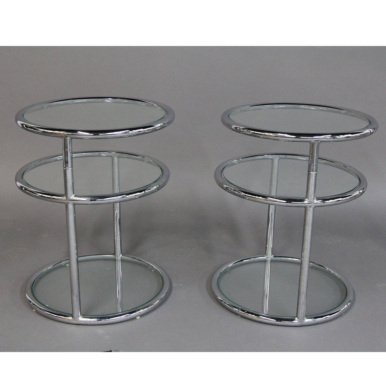 Attractive Milo Baughman Style Chrome And Glass Swivel Top Tables 3