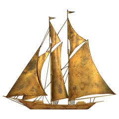 Large Sailboat Wall Sculpture by Wiley
