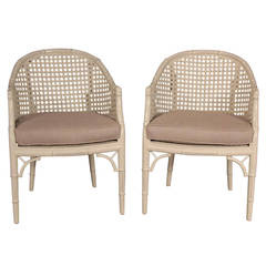 Faux Bamboo Mid-Century Painted and Caned Chairs