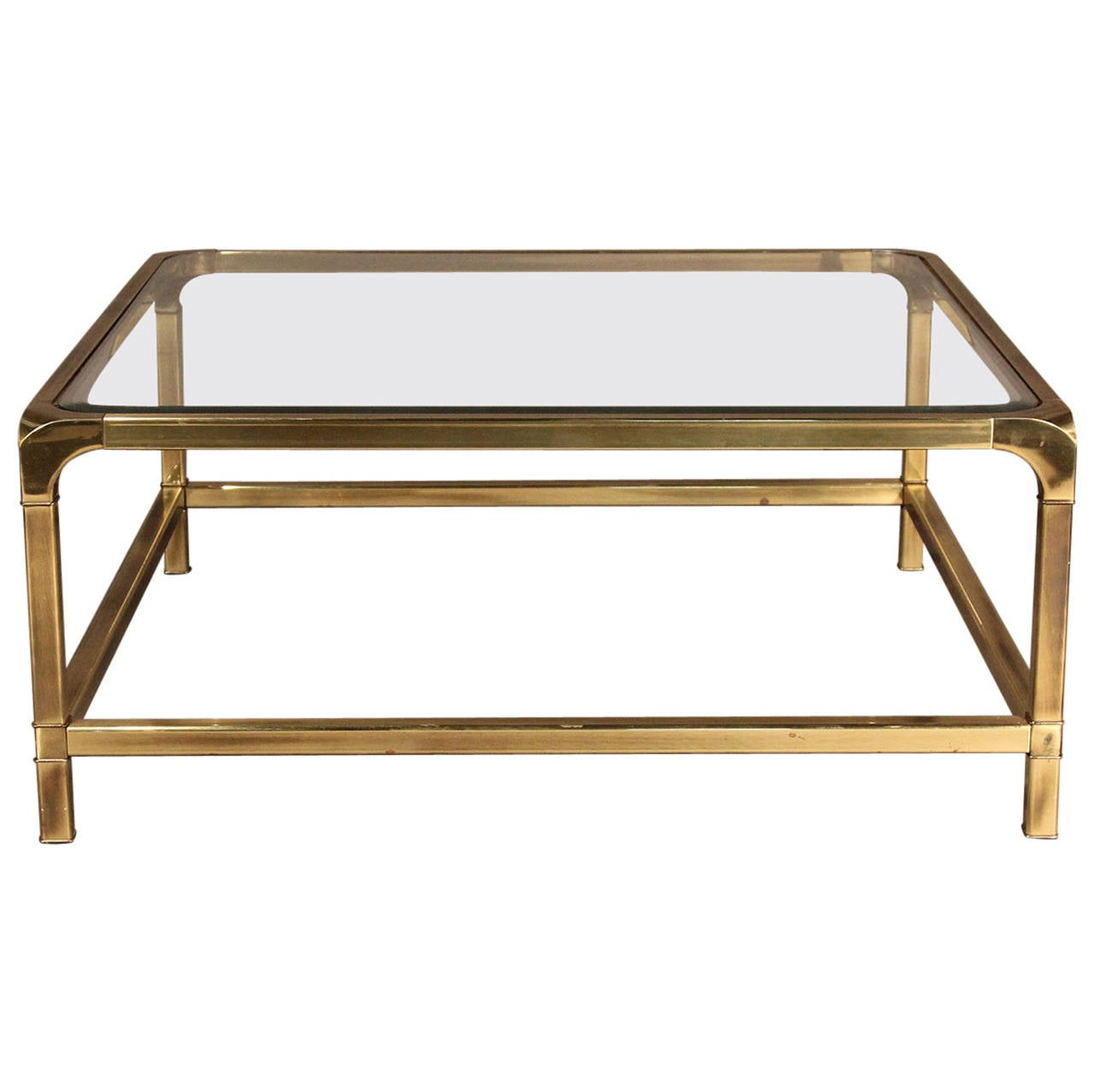 Mastercraft Brass And Glass Coffee Table At 1stdibs