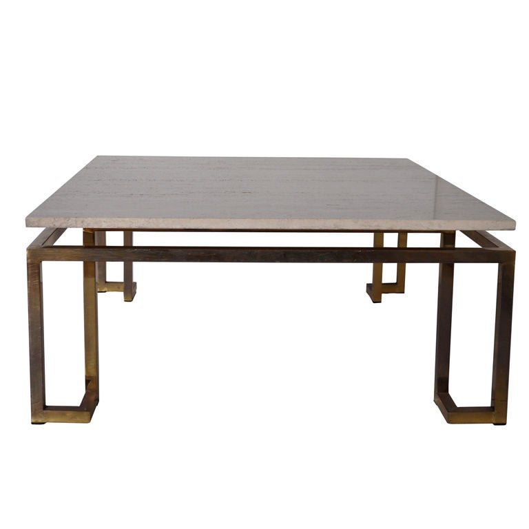 Brass And Travertine Coffee Table -Maison Jansen Attrib At