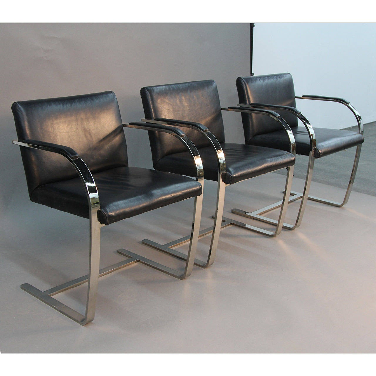Set of ten black leather brno flat bar chairs at 1stdibs