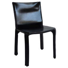 """Black Leather """"CAB"""" Chair, Mario Bellini, (Three Available)"""