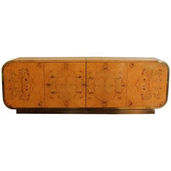 Gorgeous Pace Brass and Burled Olive Wood Bar Credenza