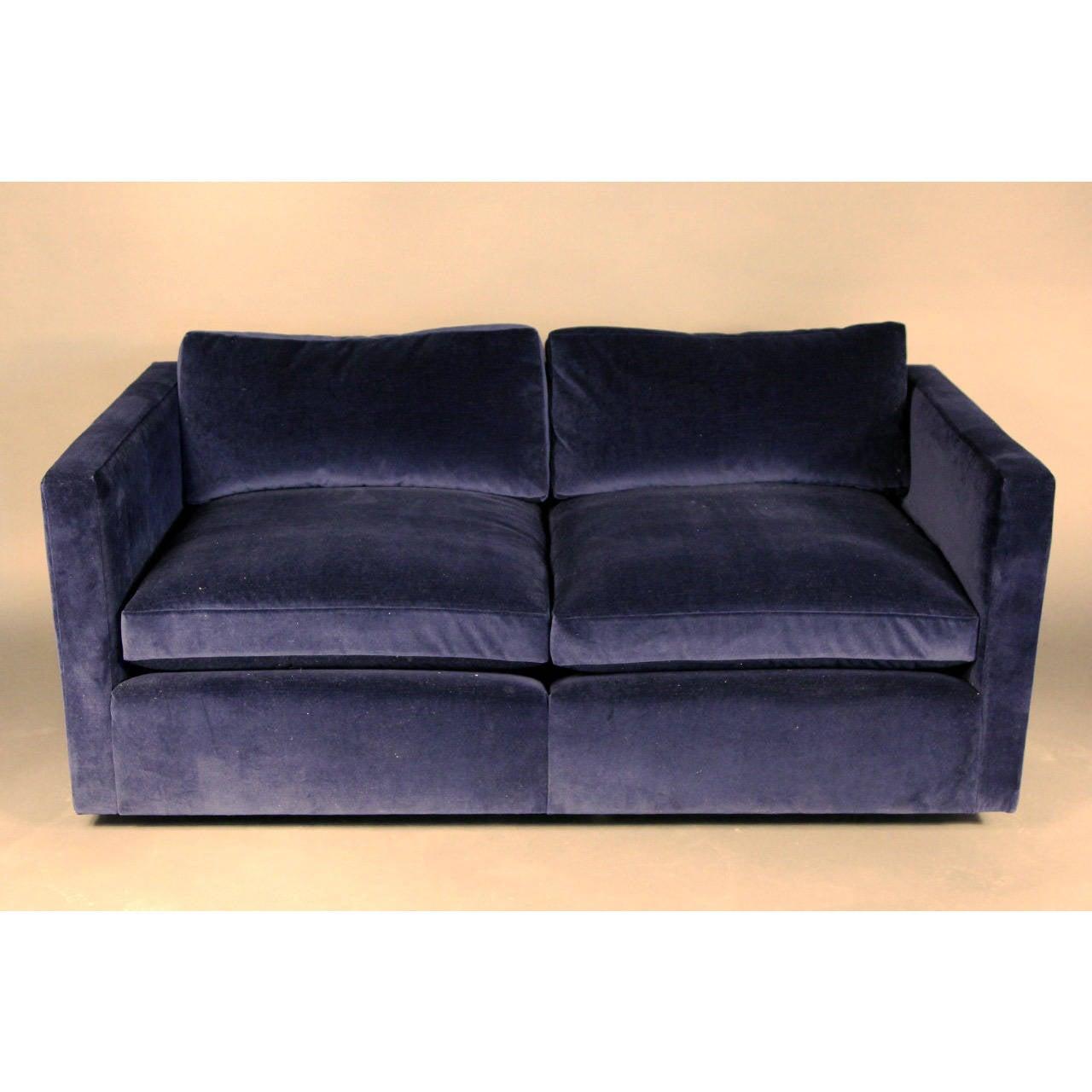 Knoll Velvet Upholstered Loveseat Sofa Image 2