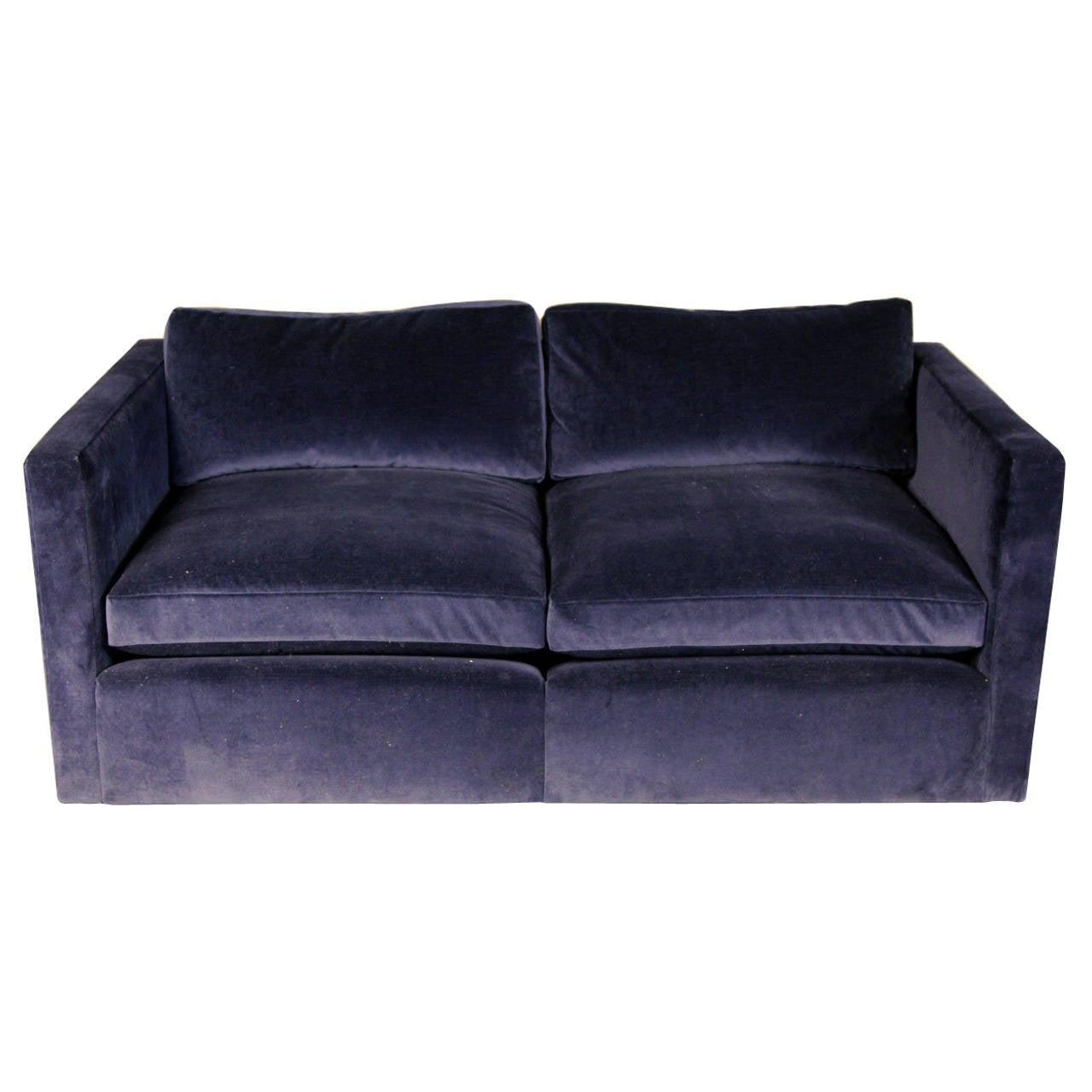 Knoll Velvet Upholstered Loveseat Sofa At 1stdibs