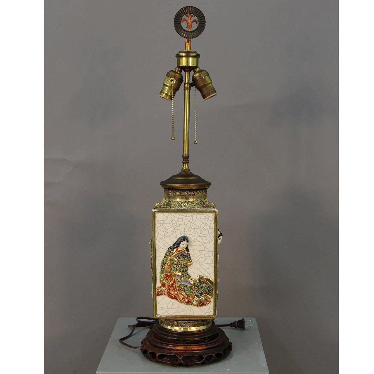 Large 19th Century Satsuma Table Lamp At 1stdibs