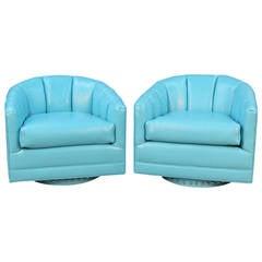Beachouse Blue Swivel Chairs attributed to Milo Baughman