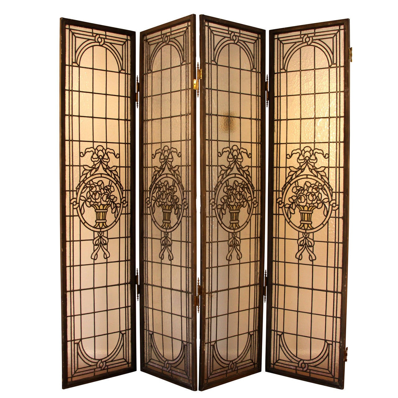 Free standing stained glass window screen at 1stdibs for Window screens for sale