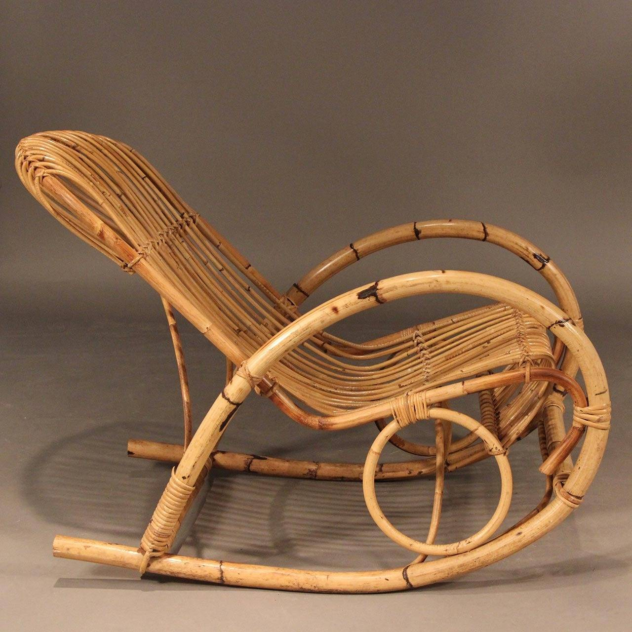 Franco Albini Style Mid Century Rattan Rocking Chair For