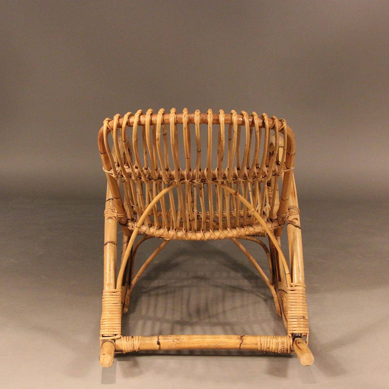 Groovy Franco Albini Style Mid Century Rattan Rocking Chair For Gmtry Best Dining Table And Chair Ideas Images Gmtryco
