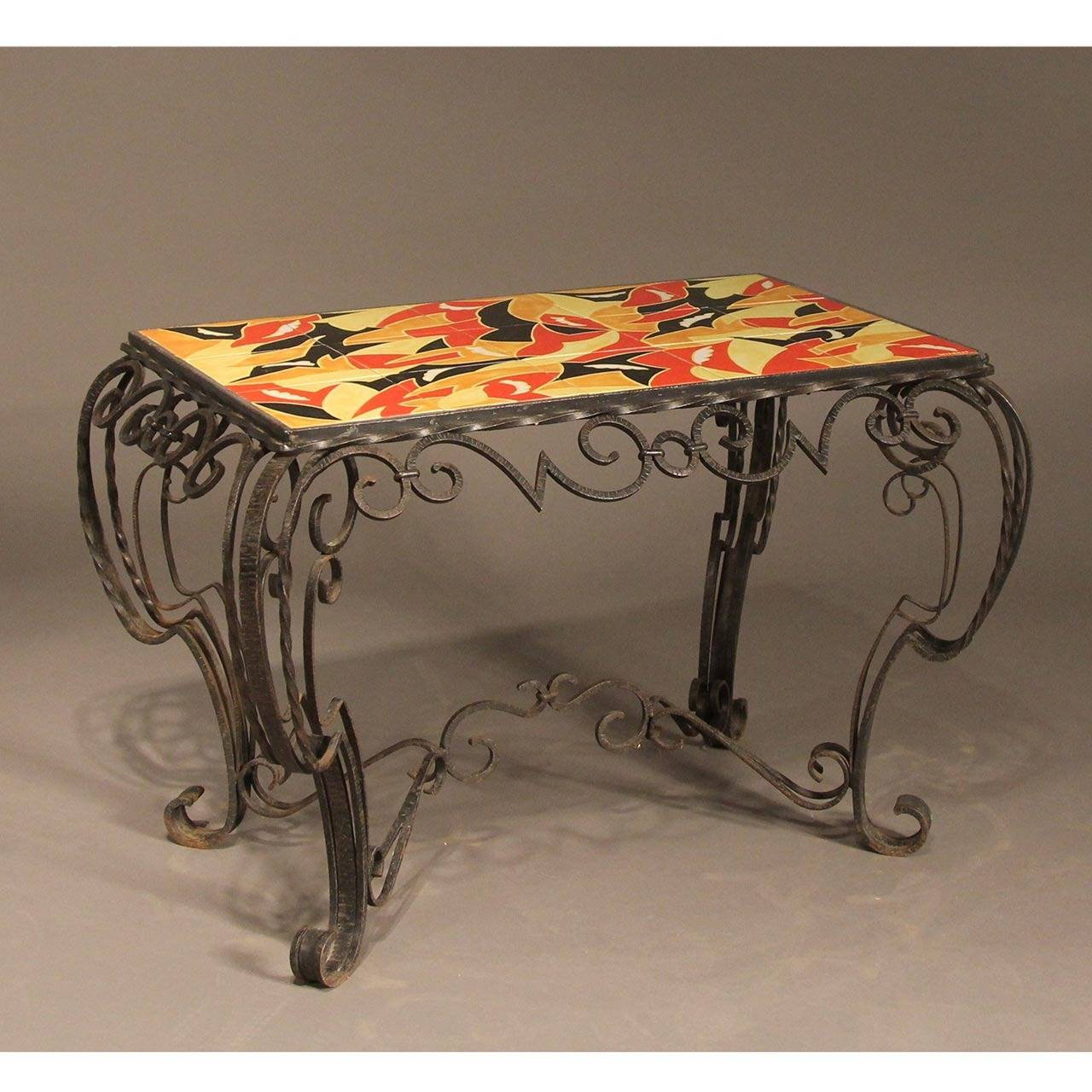 French deco inspired fer forge console table in the manner - Console art deco fer forge ...