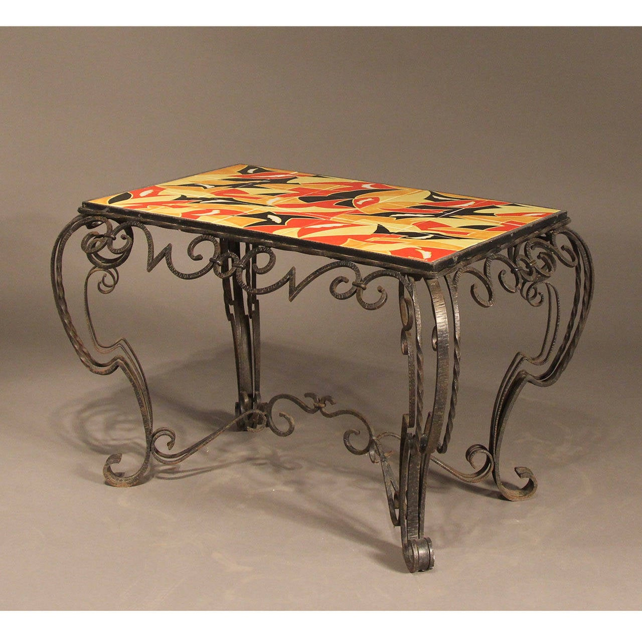 French deco inspired fer forge console table in the manner of raymond subes f - Petite table fer forge ...