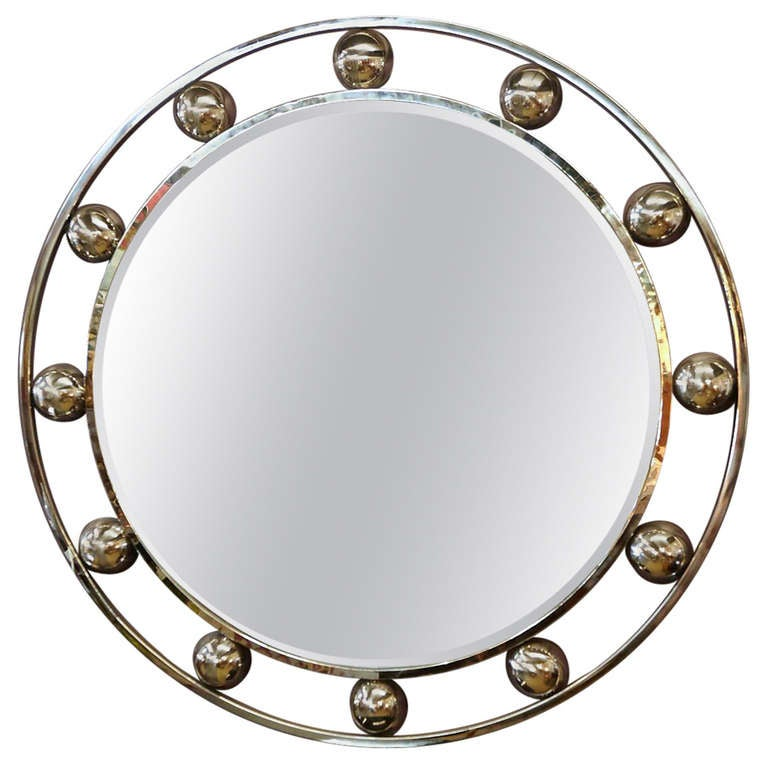 six foot chrome mirror royere style at 1stdibs For6 Foot Floor Mirror