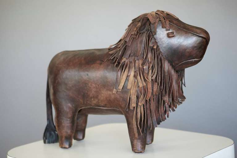 Large Leather Lion Footstool By Dimitri Omersa At 1stdibs