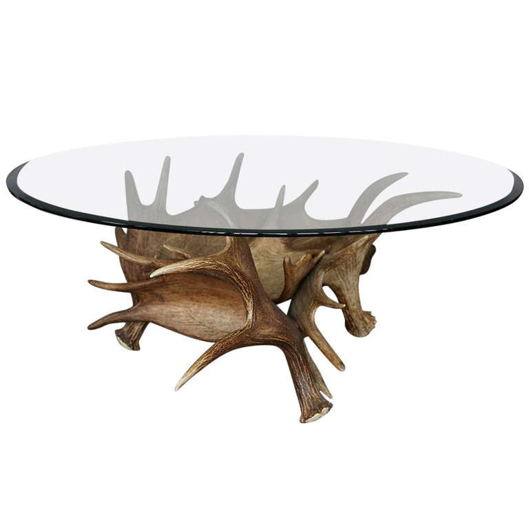 Moose antler coffee table at 1stdibs One of a kind coffee tables