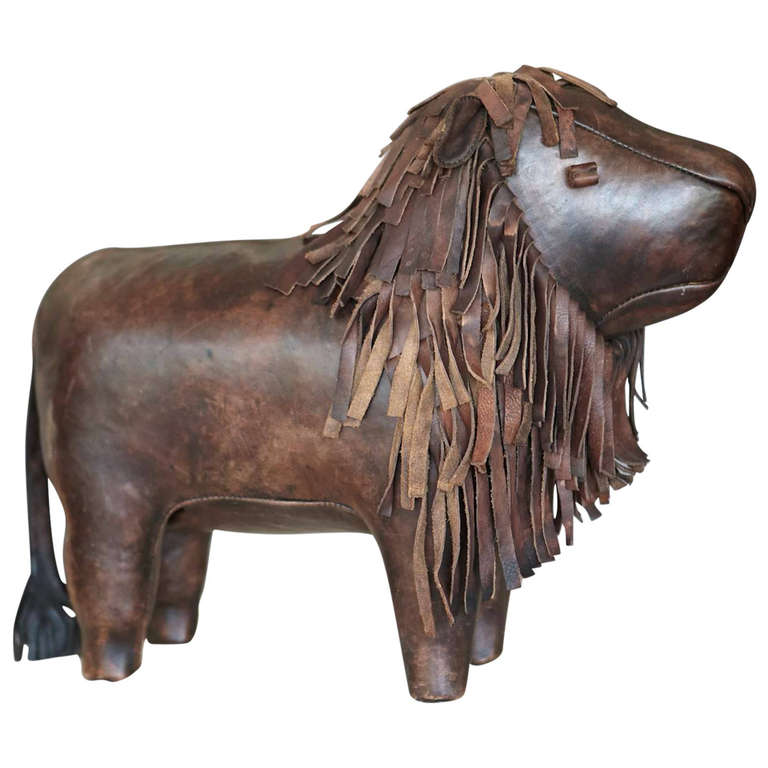 Fantastic Large Leather Lion Footstool By Dimitri Omersa At 1Stdibs Beatyapartments Chair Design Images Beatyapartmentscom