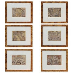 Grouping of Six Prints Featuring Antique Maps by Abraham Ortelius