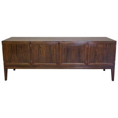 Danish Early 1960s Rosewood Four-Door Sideboard Credenza by Ole Wanscher
