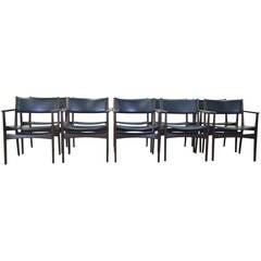 Set of Ten by Hans Olsen for Frem Rojle Dining Chairs in Walnut