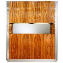Leon Rosen for Pace Illuminated Double Bar Breakfront Cabinet with Chrome