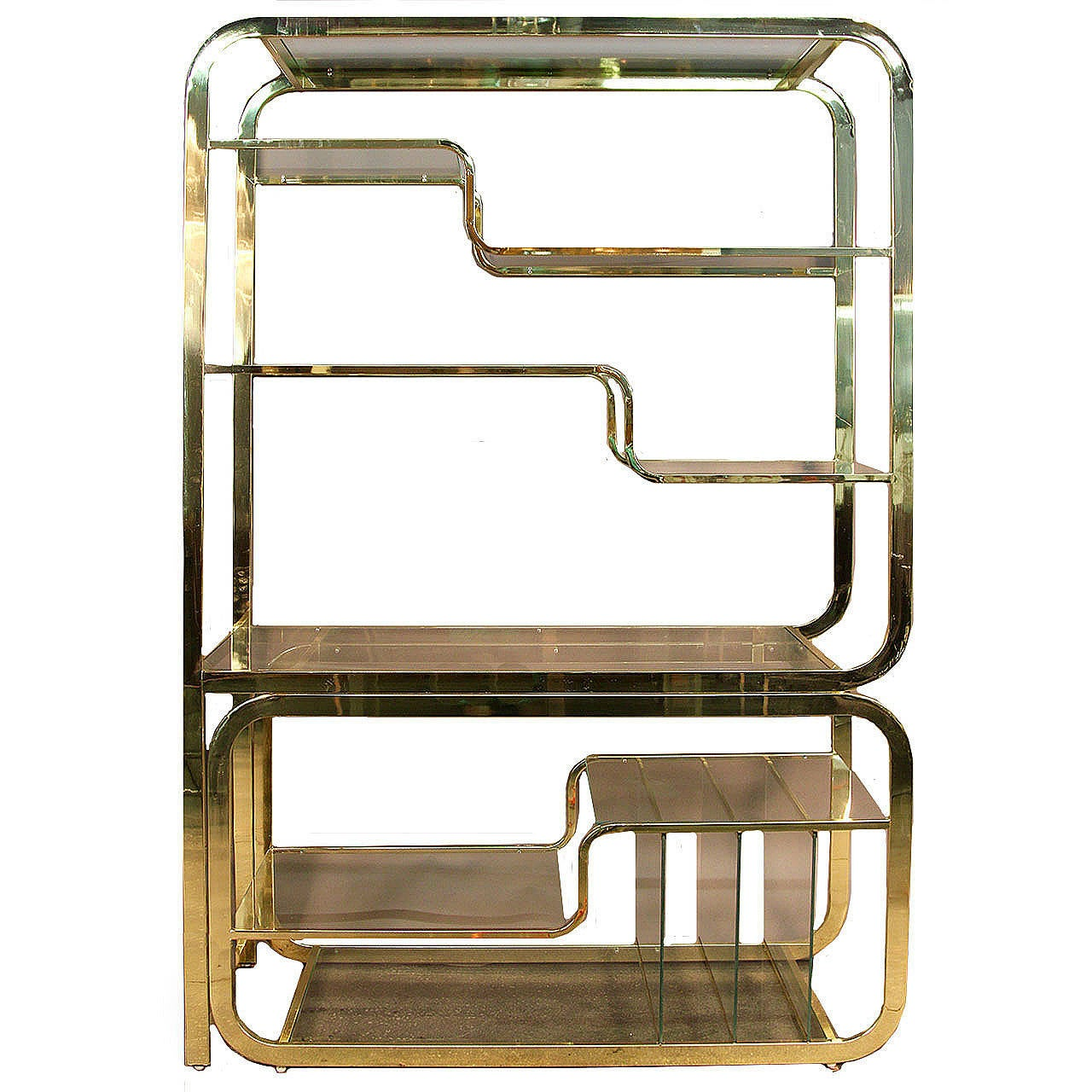 Milo Baughman Brass and Glass Etagere