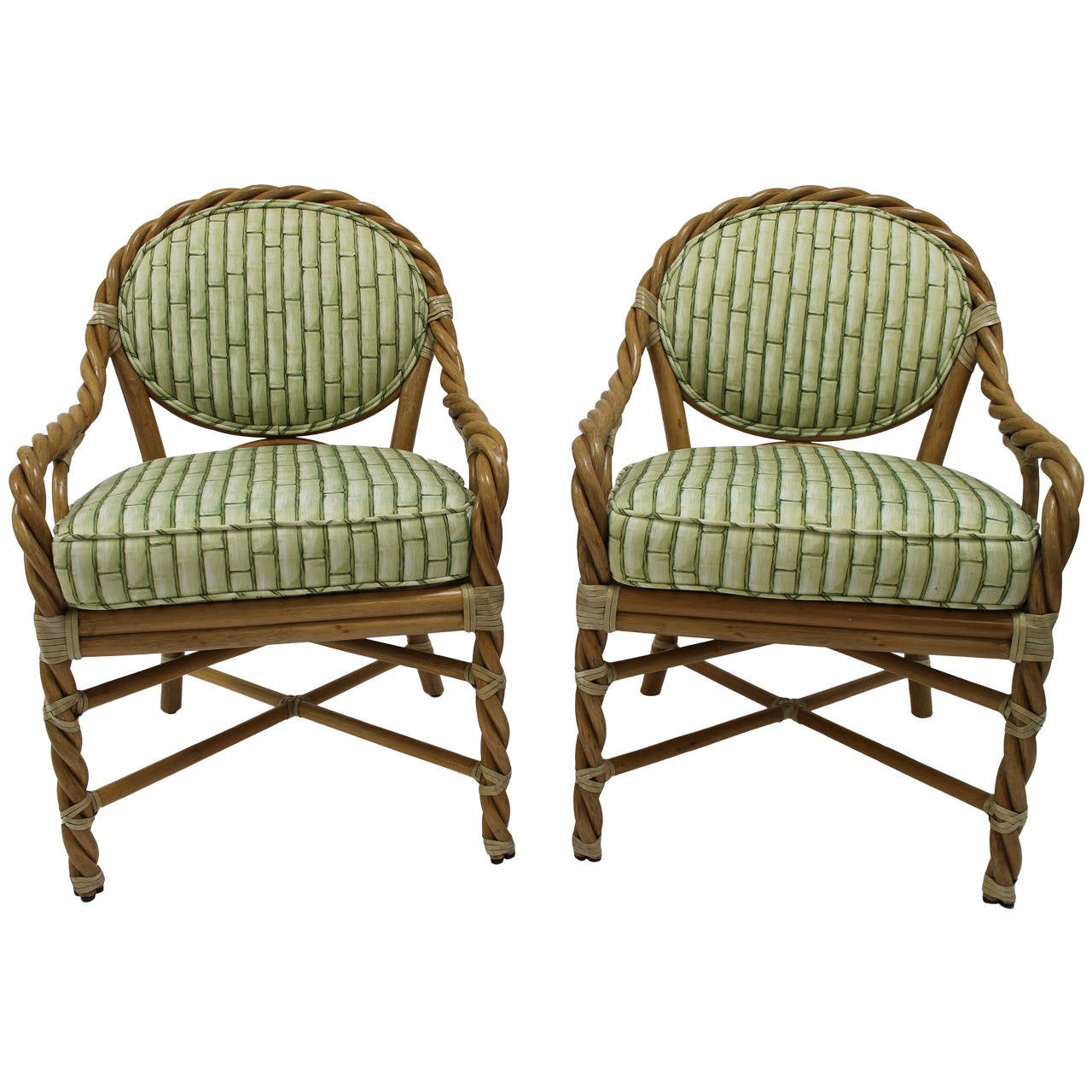 Pair McGuire Twisted Rattan And Rawhide Arm Chairs 1