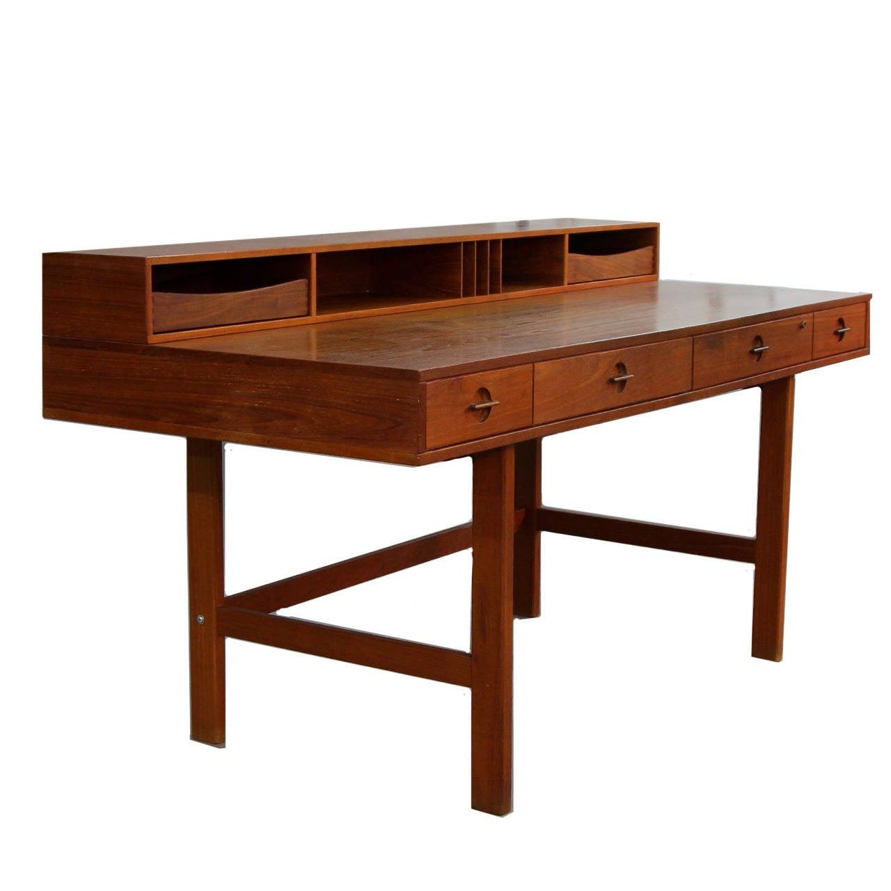 Teak Flip Top Partners Desk By Jens Quistgaard For Peter