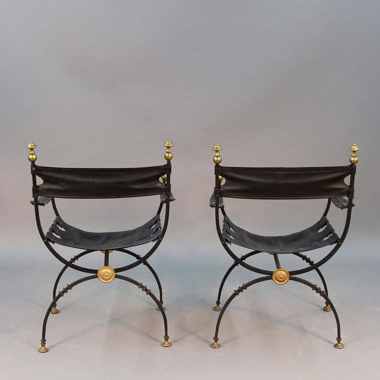 Pair Of Iron And Brass Campaign Chairs At 1stdibs