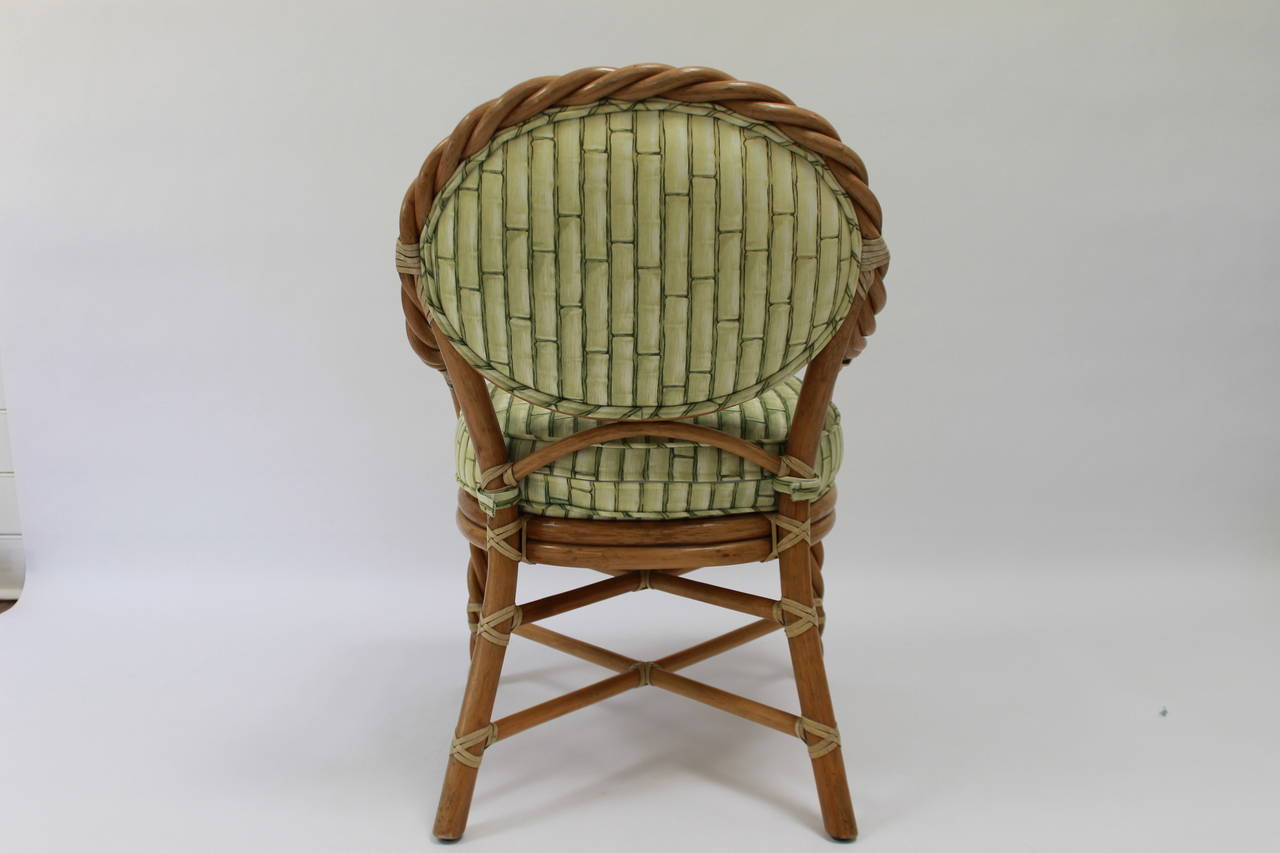 Pair Mcguire Twisted Rattan And Rawhide Arm Chairs At 1stdibs