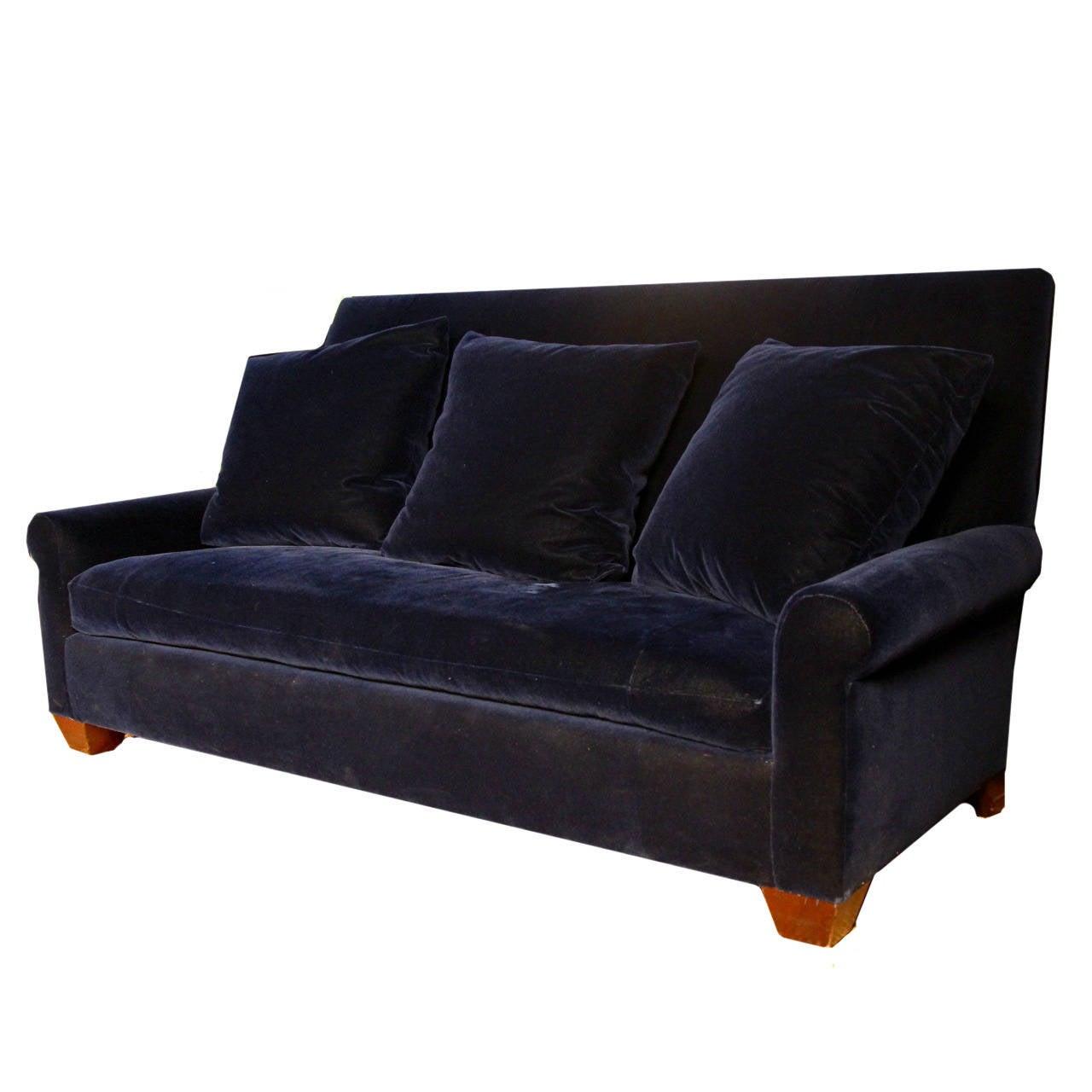 Angelo Donghia Newly Upholstered Navy Velvet Sofa For Sale