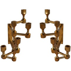 Pair of Brass Candelabra Sconces - SWEDEN