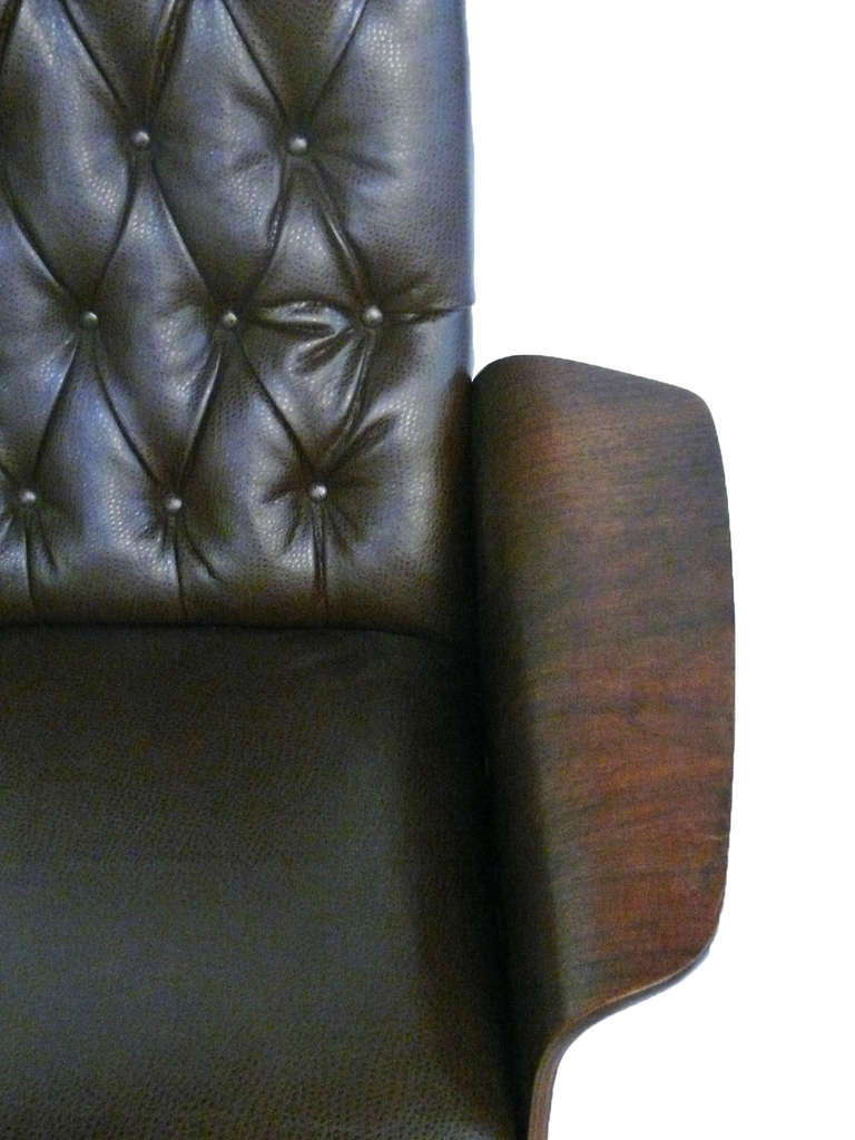 Pair Of Leather Club Chairs Castored With New Cowhide Upholstery Image