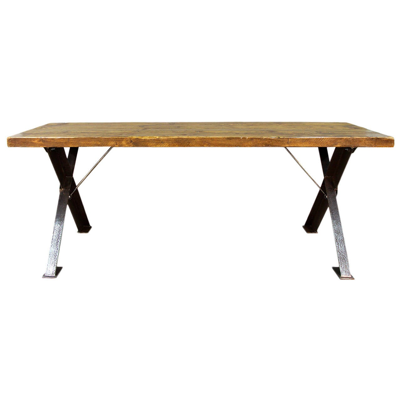 English X-Frame Polished Steel Base Table For Sale