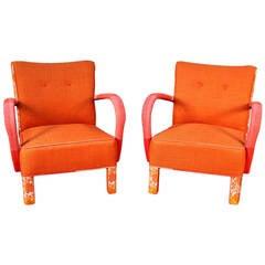 "Pair of Jindrich Halabala ""Orange Fusion Chairs"""