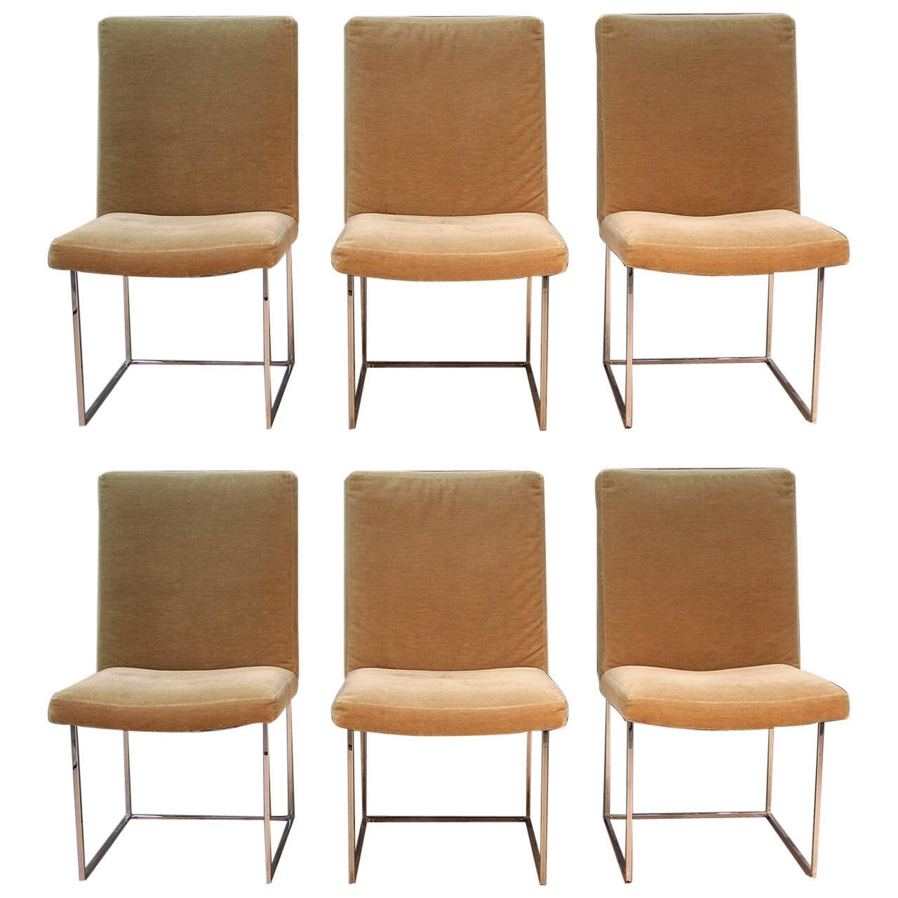 Set of six donghia dining chairs with sleek chrome frame for Sleek dining room furniture