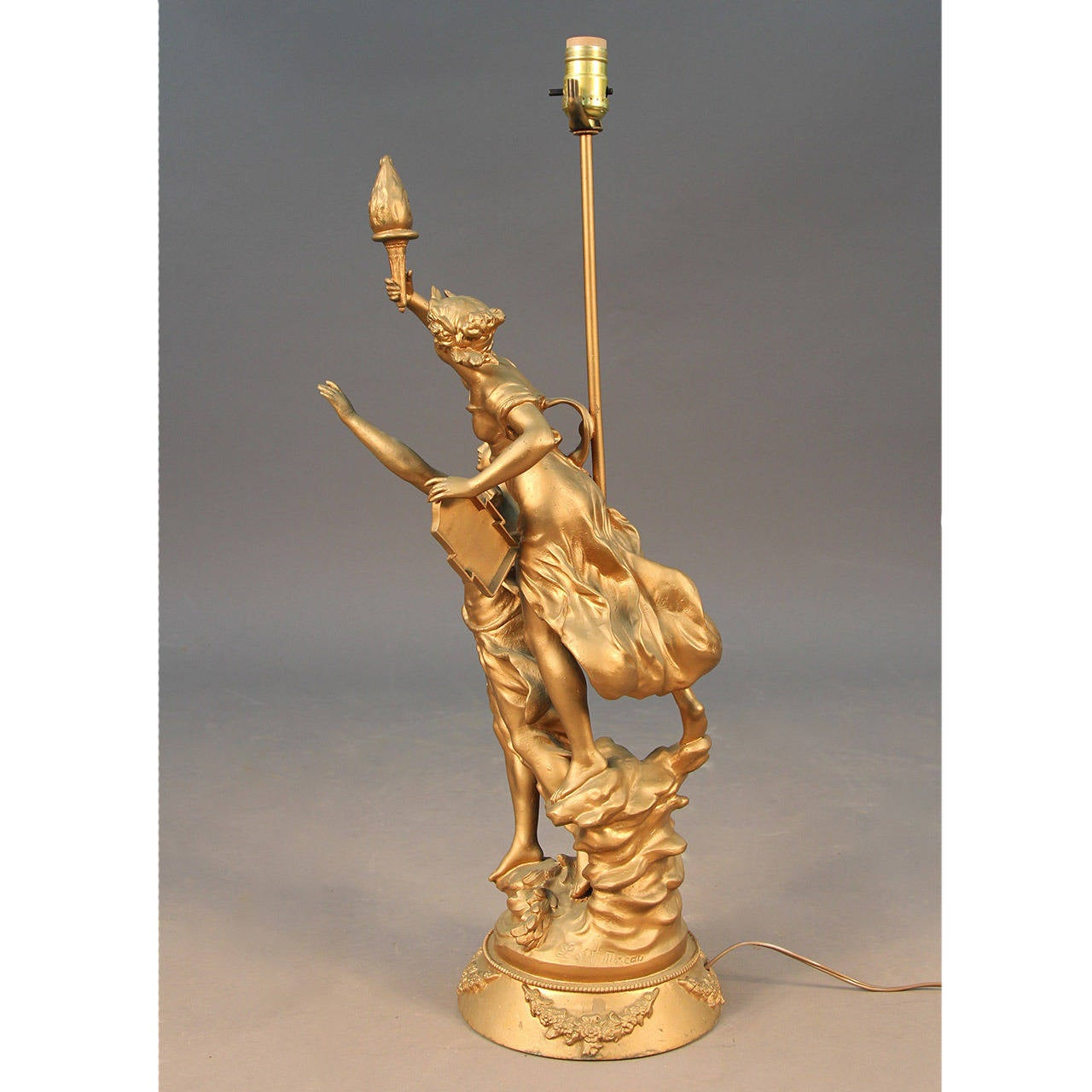 Art Nouveau Antique L & F Moreau Signed French Figural Table Lamp 5