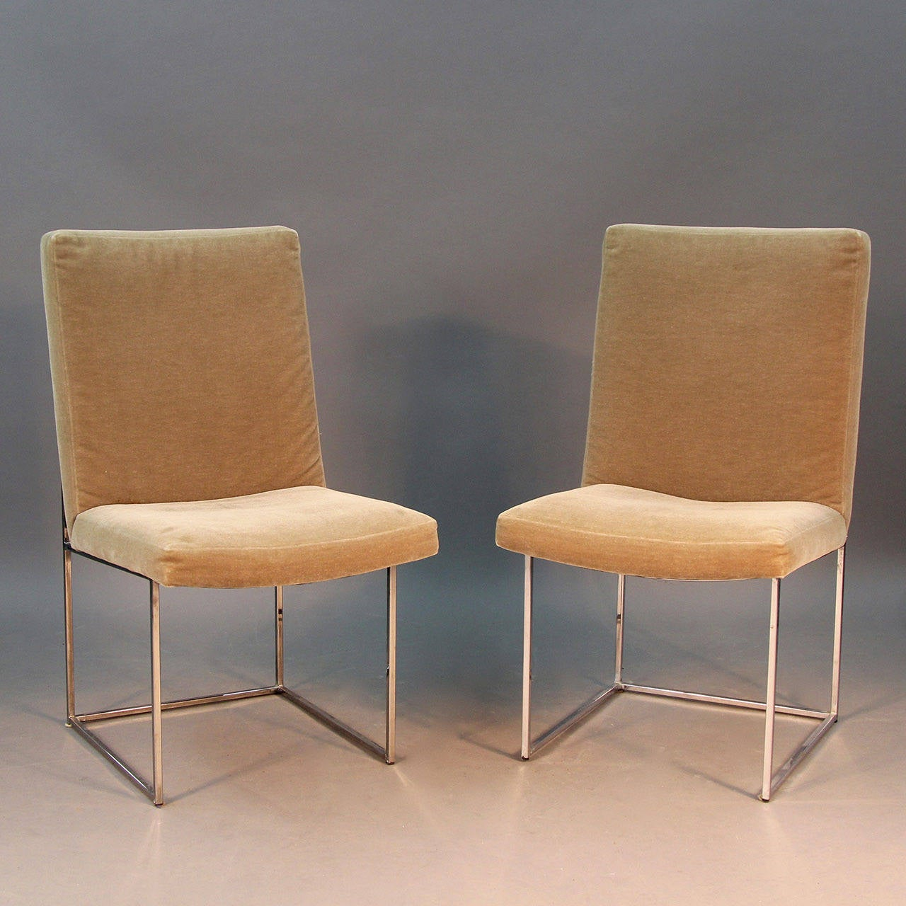 Set Of Six Donghia Dining Chairs With Sleek Chrome Frame And Mohair Upholstery 2