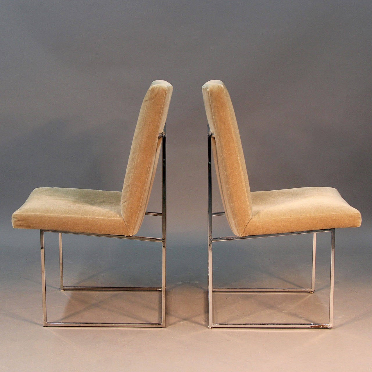 Set Of Six Donghia Dining Chairs With Sleek Chrome Frame And Mohair Upholster