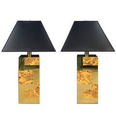 Paul Evans Cityscape Brass and Cork Table Lamps