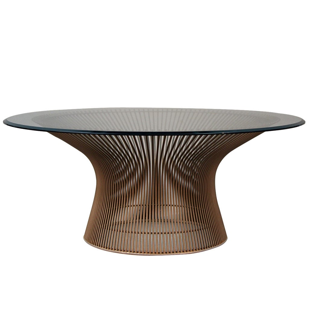 Warren platner original bronze coffee table at 1stdibs for Warren platner coffee table