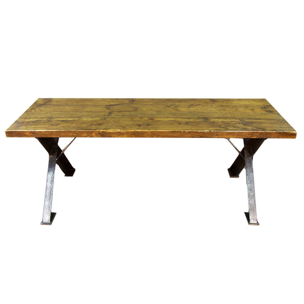 Wood English X-Frame Polished Steel Base Table For Sale