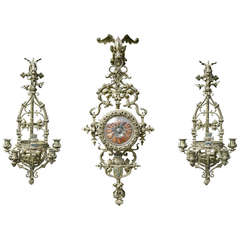 Renaissance Revival Clock and sconce set with King Louis XII Coat of Arms