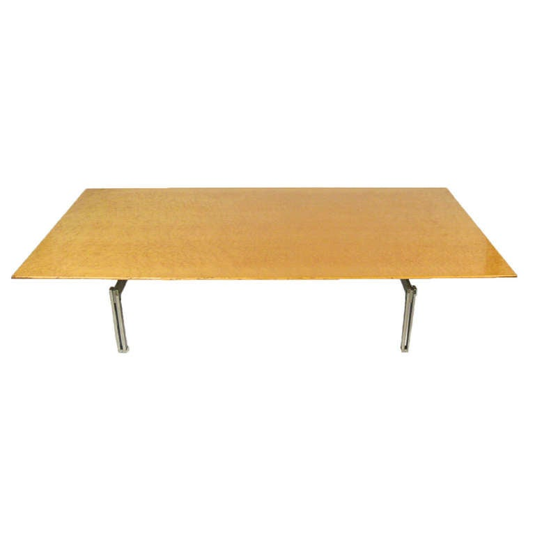 Saporiti Coffee Table Birds Eye Maple Wood Top And Steel Legs At 1stdibs