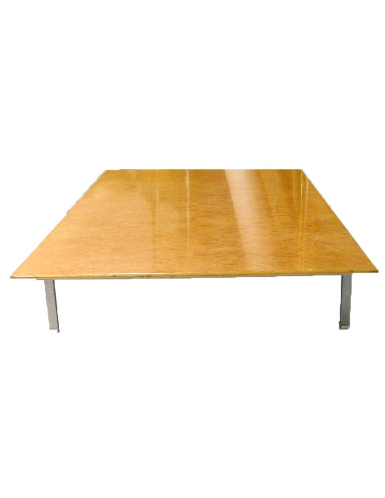 Saporiti Coffee Table Birds Eye Maple Wood Top And Steel Legs For Sale At 1stdibs
