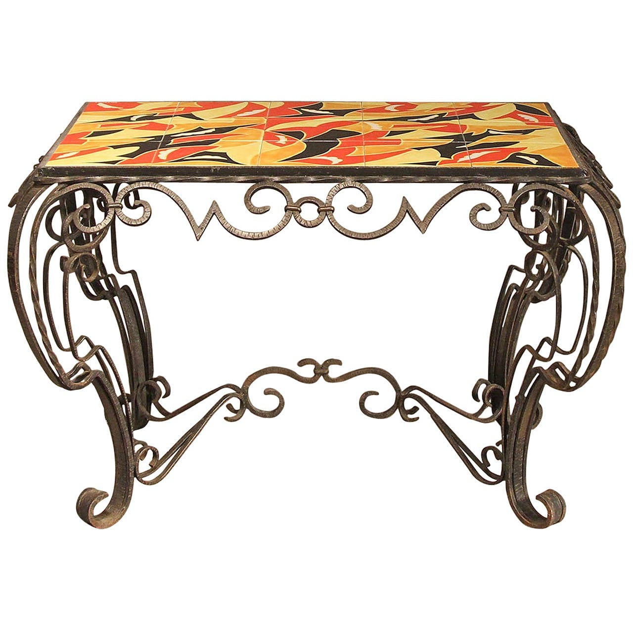 french deco inspired fer forge console table in the manner. Black Bedroom Furniture Sets. Home Design Ideas