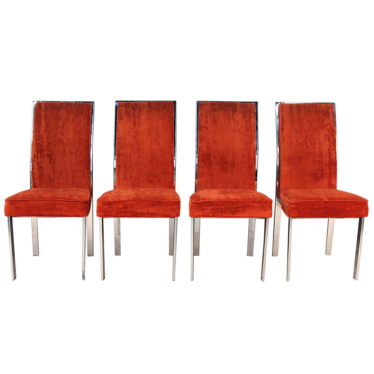 Milo baughman style chrome and velvet dining chairs at 1stdibs for Dining room velvet chairs