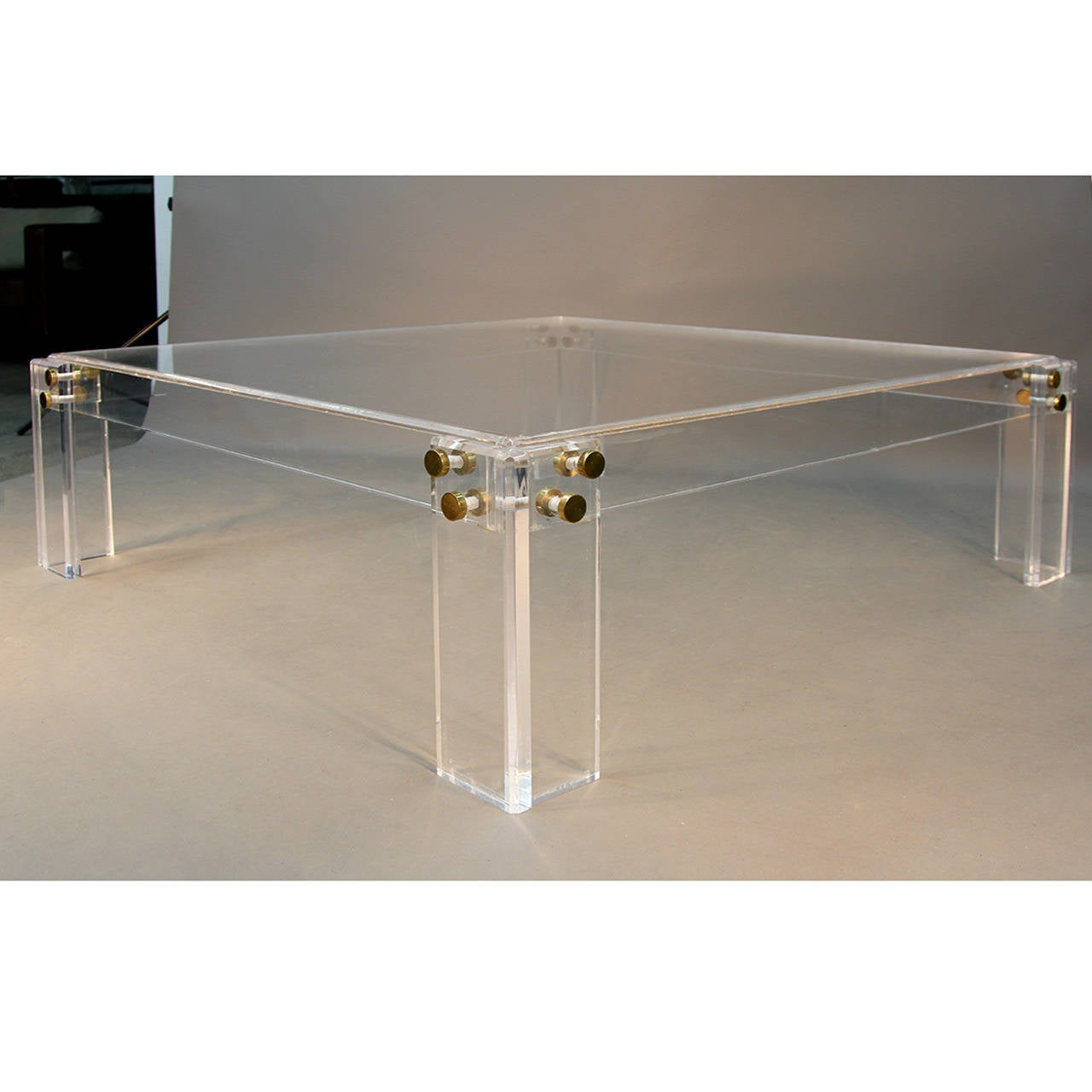 Monumental All Lucite With Brass Hardware Coffee Table At 1stdibs